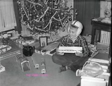 1950s HAPPY BOY 8x11 PHOTO CHRISTMAS GIFTS TREE LIONEL TRAIN REVELL FOOTBALL TOY
