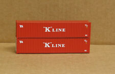 2 Walthers #8153, UPGRADED HO 40' rib side Containers, K-LINE