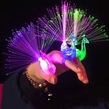 10 Finger Light Up Ring Laser LED Party Rave Favors Glow Beams Toys Fun Peacock