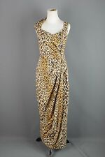 VTG 50s 60s Cotton Leopard Print Asymmetrical Maxi Dress #1463 1950s 1960s