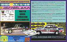 ANEXO DECAL 1/43 OPEL ASCONA 400 ROTHMANS WALTER ROHRL SWEDISH R. 1982  (01)