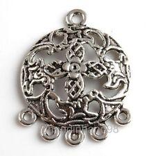 9x Tibétain Argent 6 Trous Feuille Pendentif Perles Boucles D'oreille Connecteur