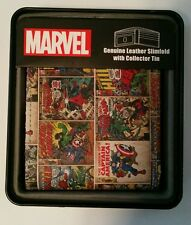 Marvel Comics Genuine Leather Superhero Avengers Bifold Wallet Collectors Tin