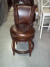 Frontgate Manchester Counter BAR Height Leather Barstool Stools Chairs Mahogany