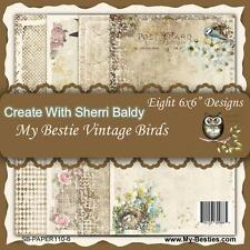 "NEW My-Besties SCRAPBOOK CARD PAPER PACK SET 6 X 6"" VINTAGE BIRD  free us ship"