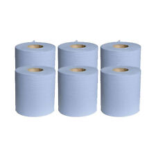 6 x Blue Paper Rolls - Large Centrefeed Cleaning Wipes