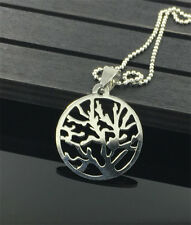 Fashion Tree Womens MEN Silver 316L Stainless Steel Titanium Pendant Necklace