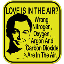 "Love is in the Air Funny car bumper sticker decal 4"" x 4"""