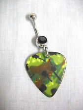 ARMY CAMO w ELECTRIC GUITARS PRINTED GUITAR PICK BLACK CZ BELLY BAR NAVEL RING