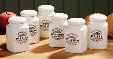 Set di 6 PANNA VINTAGE IN CERAMICA Casa Cucina storage pot Herb Spice JAM JAR Set