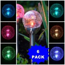 6-Pack Solar Stake Stainless Steel Crackle Lawn Glass Ball LED Light Sun Power i