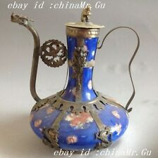 Exquisite rare Chinese blue porcelain tibet silver dragon teapot rabbit lid