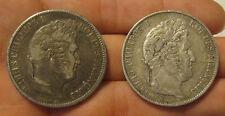 France - (2) Large Silver 5 Francs (1831 & 1844)
