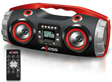 AXESS PBBT2709 Portable Bluetooth FM Radio/CD/MP3/USB/SD Heavy Bass Boombox Red