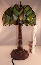 RARE VTG Palm Tree Stained Glass & Lead Tiffany Style Boudoir Table Bar Lamp