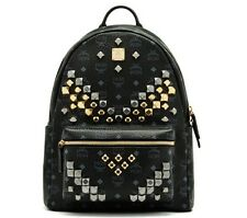 New with Tags Genuine MCM Stark Backpack Medium, Black with Stud Accents