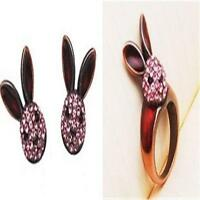 Women New Nice Fashion Lovely Vintage Brass Pink Crystal Rabbit Bunny Ring Gift#