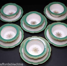 Antique Ahrenfeldt Limoges Green and Gold Set of 6 Ramekins 6 Under Plates
