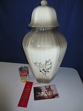 "Vtg LARGE 22"" Handpainted Gold Porcelain Urn Ginger Jar Vase Award Winner"