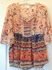 NEW Anthropologie SS Peasant Boho Tassel Tie Blouse, Sz Med, Blue, Orange