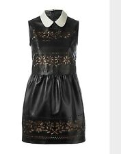 Red Valentino Black Lamb Leather Laser Cut Dress With Collar Size 38 UK6/8