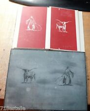 ROBERT FRANKENBERG ORIGINAL ZINC PRINTING PLATE SANCHO OF THE LONG LONG HORNS