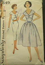 Vintage Sewing Pattern 1950s One-Piece Dress with Wide Collar :Size 18