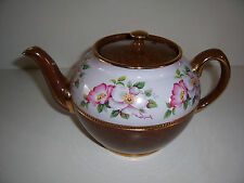 Sadler Floral and  Brown Gold Teapot England Vintage