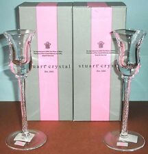 "Stuart Crystal IONA SET/2 Candlestick Holders Air Twist Stem 8.25"" #140162 NEW"