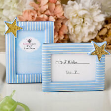24 Blue and Gold Place Card Holder Frames Birthday Party Baby Shower Favors