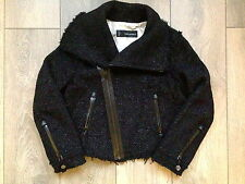DSQUARED 2 BLACK JACKET CROPPED WOOL SILVER/WHITE DETAIL IT:44/UK:12/L SOLD OUT