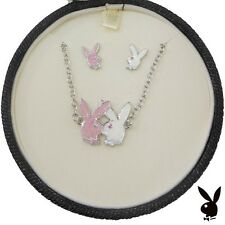 Playboy Jewelry Set Kissing Bunny Necklace Earrings Jewellery Box GIFT FOR HER