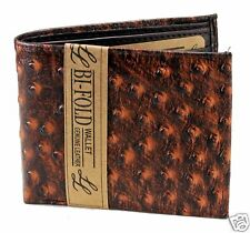 Mens Western Bifold Genuine Leather Wallet Ostrich Print Brown  Zipper Cards ID