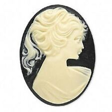 Cab Cabochon, White on Black, Woman, 40x30mm Oval Flatback Cameo,  6 Qty