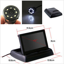 """4.3""""LCD Flodable Display Monitor+8 LED Light Night Vision Car Rearview HD Camera"""