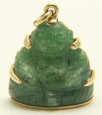 A Green Jade Buddha Pendant In 15ct Yellow Gold Mount Circa 1800's
