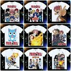 Anime Fairy Tail Natsu/Happy/Gray Short Sleeve White Casual Costume T-shirt#A-01