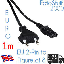 1m Euro 2 Pin Power Plug Lead to IEC C7 (Figure of 8 FIG8) 1 Metre EU Cable Cord