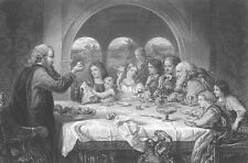 John Bunyan PILGRIM'S PROGRESS Scene DINNER FEAST ~ Old 1867 Art Print Engraving