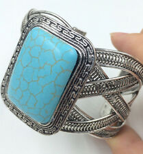 Handwork Men's tibet silver inlay Stone turquoise cuff bracelet bangle