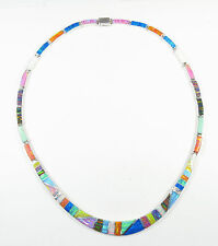 """.950 fine silver multi-colored opal necklace long curved centerpiece 17"""" long"""