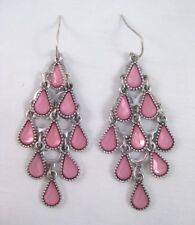 Stunning New Silvertone Pink Rhinestone Chandelier Earrings NWT #E1123