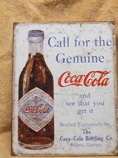 Coke Coca Cola Genuine Bottle Tin Metal Sign Decor Vintage Look but Brand NEW!