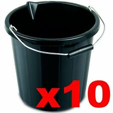 Black Builders Bucket Plastic 3 Gallon 14 Litre 14L Strong Water Mixing Storage