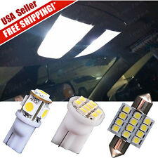 "6 White T10 & 1.22"" Dome Map + License Plate LED lights for Interior package Kit"