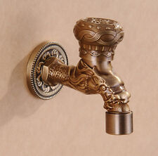 Antique Brass Wall Mount Mop Pool Faucet Dragon Carved Cold Water Sink Tap