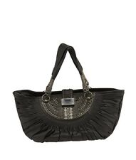 Christian Dior Plisse Large Black Leather Tote