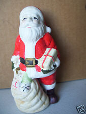"""Santa Claus Ceramic Figurine 6"""" Tall With Bag Of Gifts"""