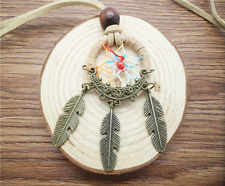 HOT Retro Handmade Dreamcatcher Feathers With Bead Long Chain Beige Necklace KC0