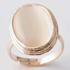 Luxury Womens Yellow Gold Plated Big Oval champagne Opal Ring Adjustable Size 6